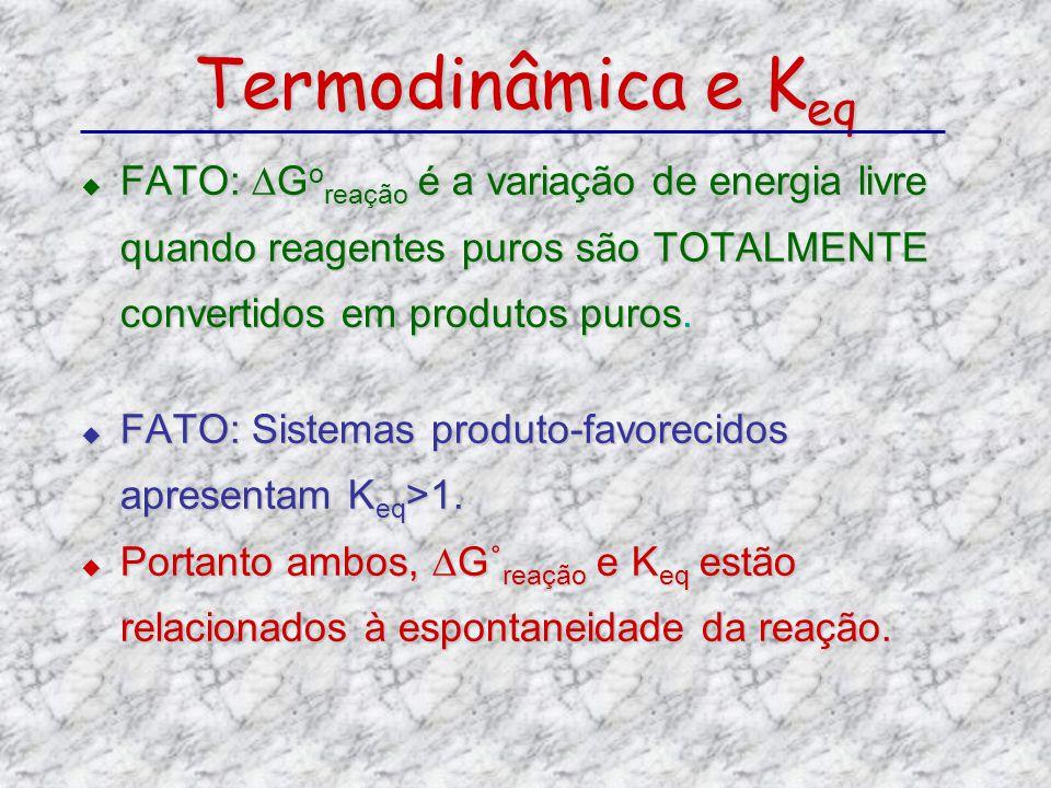 Termodinâmica e Keq FATO: ∆Goreação é a variação de energia livre quando reagentes puros são TOTALMENTE convertidos em produtos puros.
