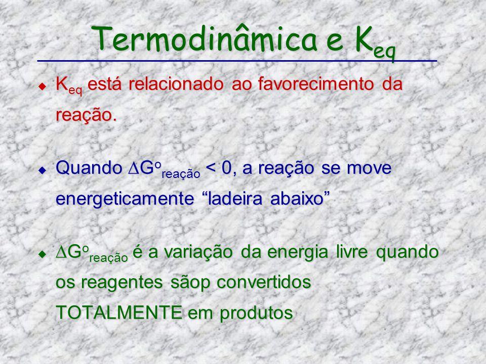 Termodinâmica e Keq Keq está relacionado ao favorecimento da reação.