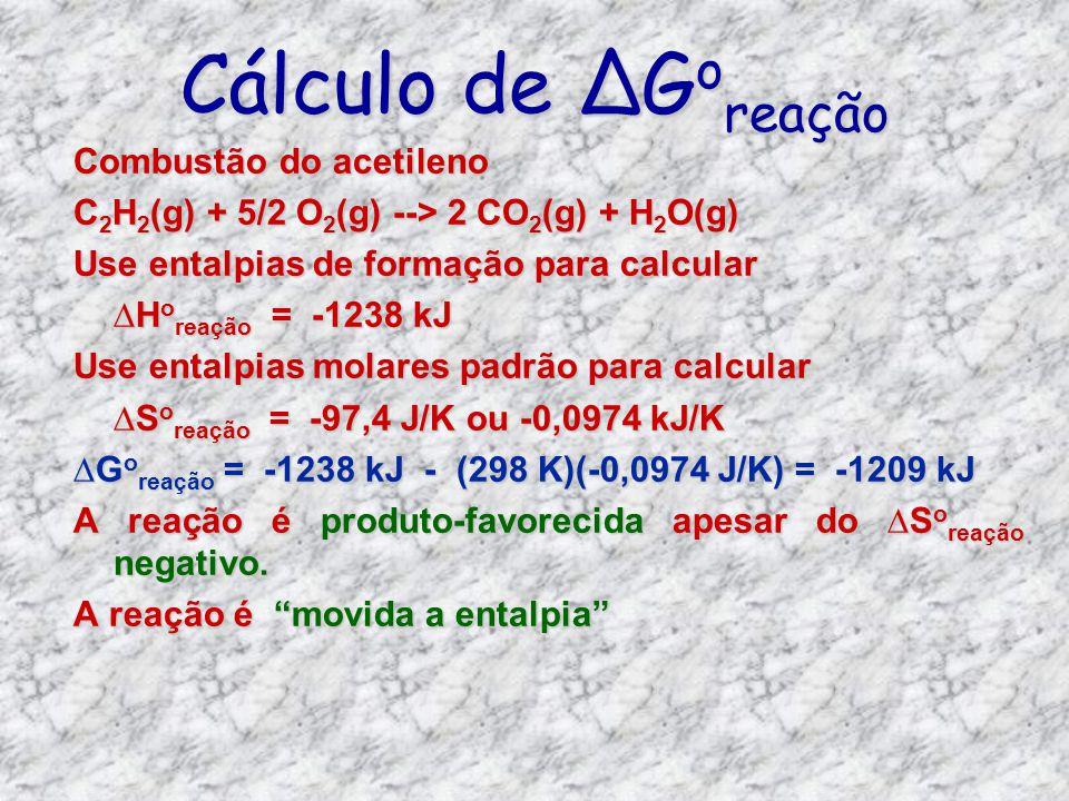 Cálculo de ∆Goreação Combustão do acetileno