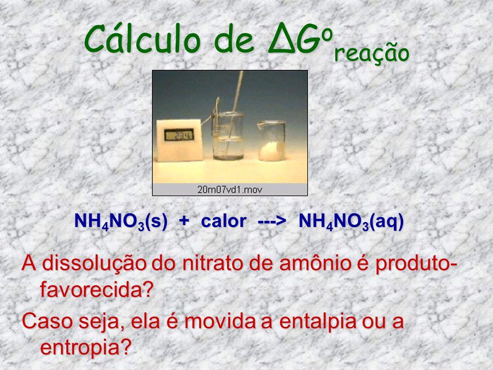Cálculo de ∆Goreação NH4NO3(s) + calor ---> NH4NO3(aq) A dissolução do nitrato de amônio é produto-favorecida