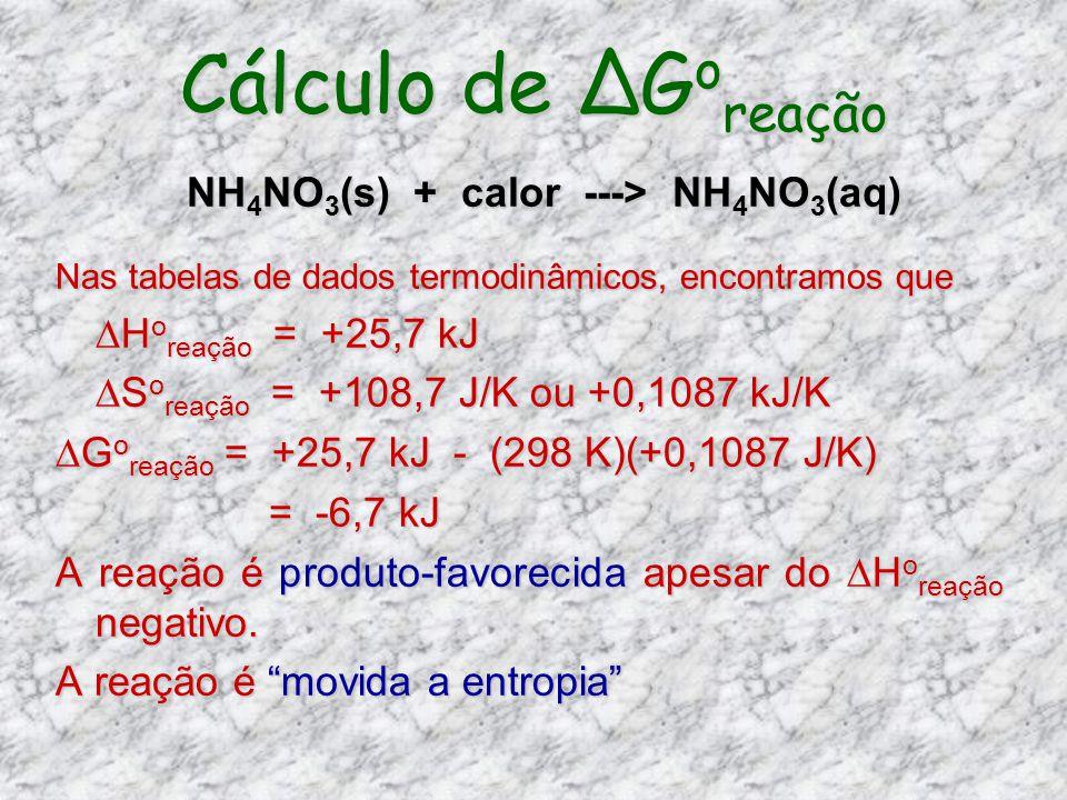 Cálculo de ∆Goreação NH4NO3(s) + calor ---> NH4NO3(aq)