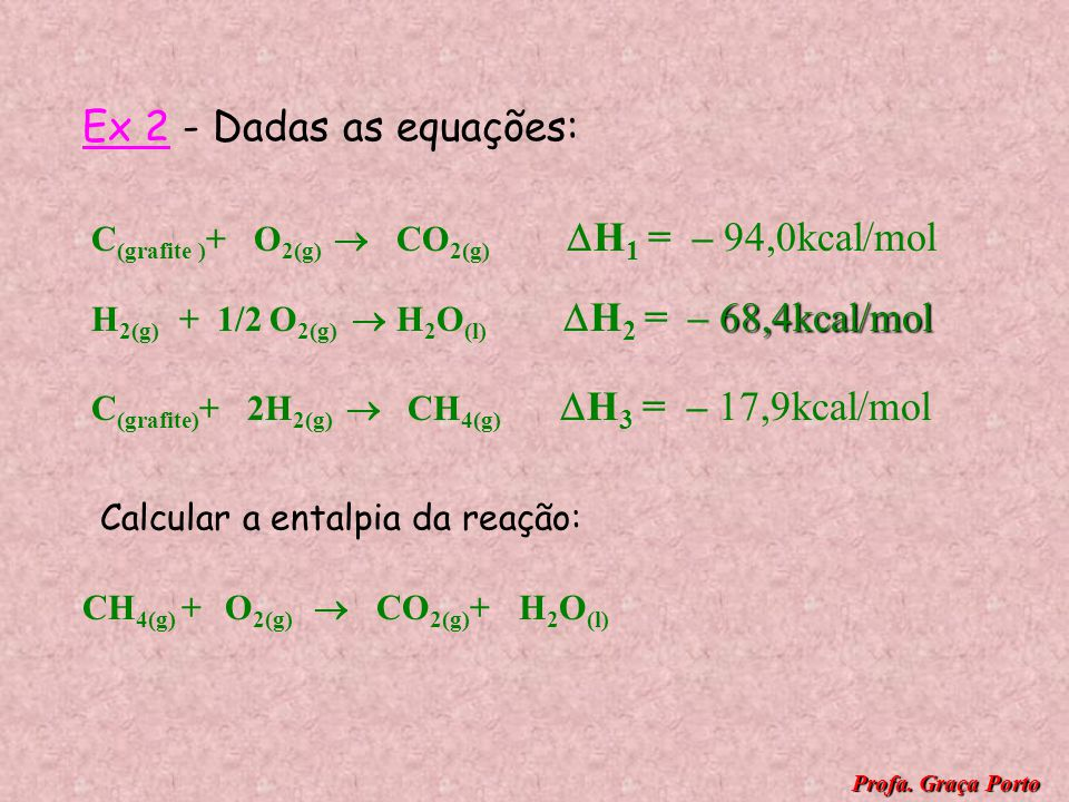 Ex 2 - Dadas as equações: C(grafite )+ O2(g)  CO2(g) H1 = – 94,0kcal/mol.