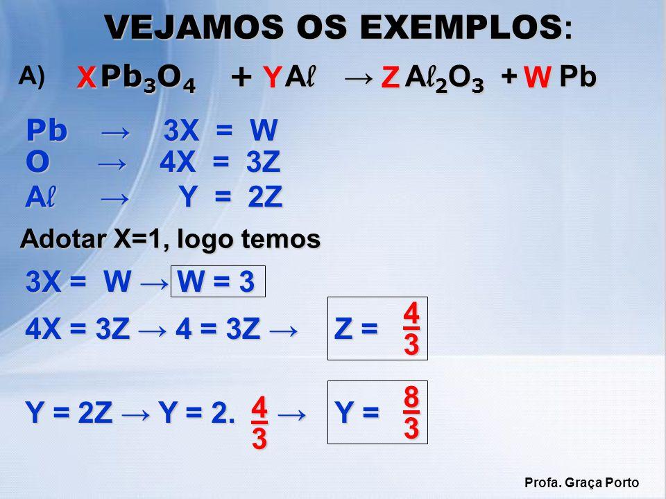 VEJAMOS OS EXEMPLOS: Pb3O4 + Al → Al2O3 + Pb X Y Z W Pb → 3X = W