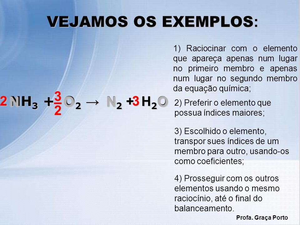 VEJAMOS OS EXEMPLOS: N N O O 3 2 2 NH3 + O2 → N2 + H2O 3
