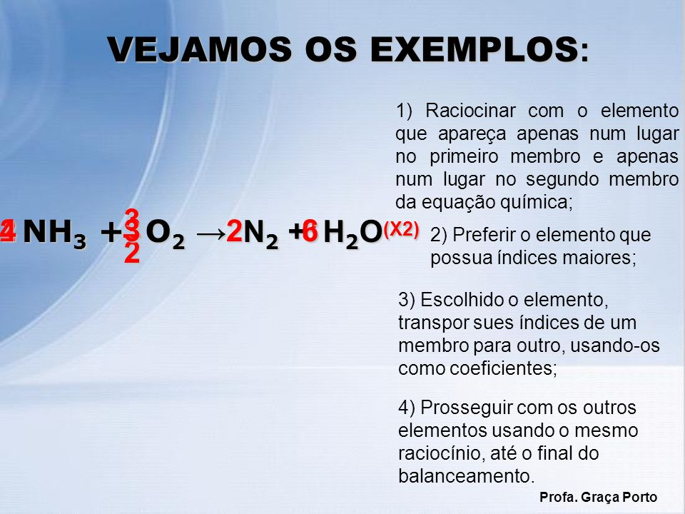 VEJAMOS OS EXEMPLOS: 3 2 2 4 NH3 + O2 → N2 + H2O 3 2 6 3