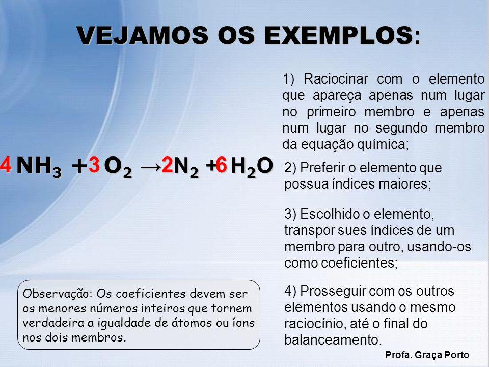 VEJAMOS OS EXEMPLOS: 4 NH3 + O2 → N2 + H2O 3 2 6