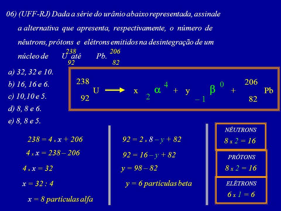 06) (UFF-RJ) Dada a série do urânio abaixo representada, assinale