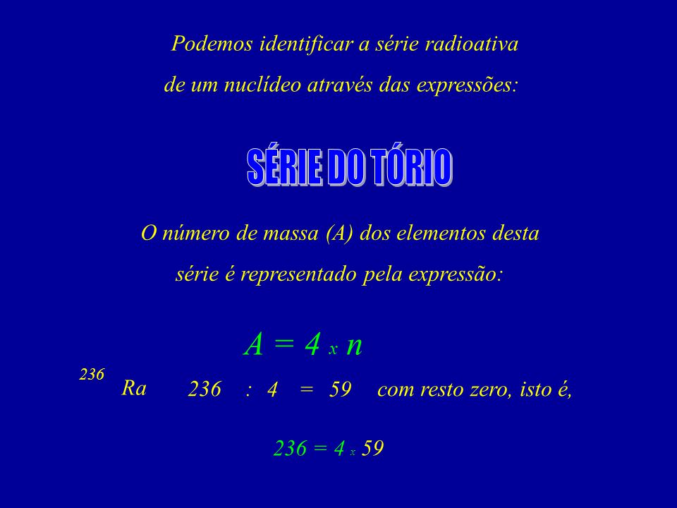 SÉRIE DO TÓRIO A = 4 x n Podemos identificar a série radioativa