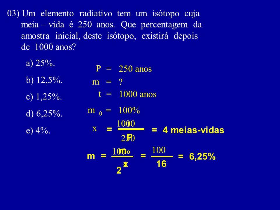 03) Um elemento radiativo tem um isótopo cuja