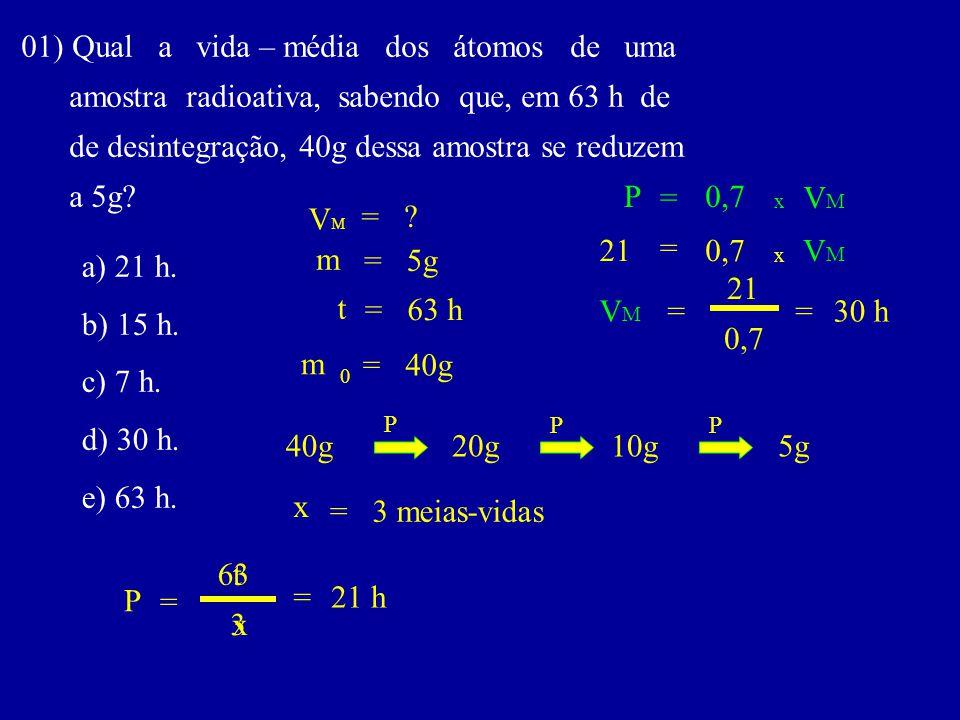 01) Qual a vida – média dos átomos de uma