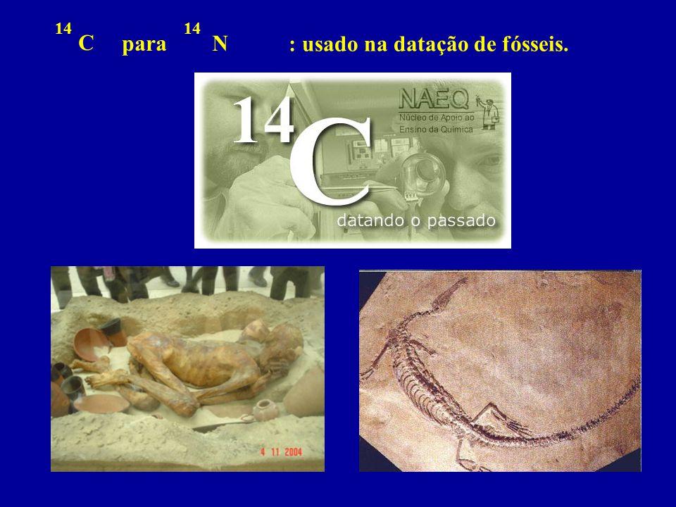 : usado na datação de fósseis.