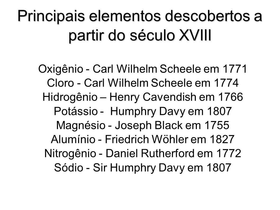 Principais elementos descobertos a partir do século XVIII