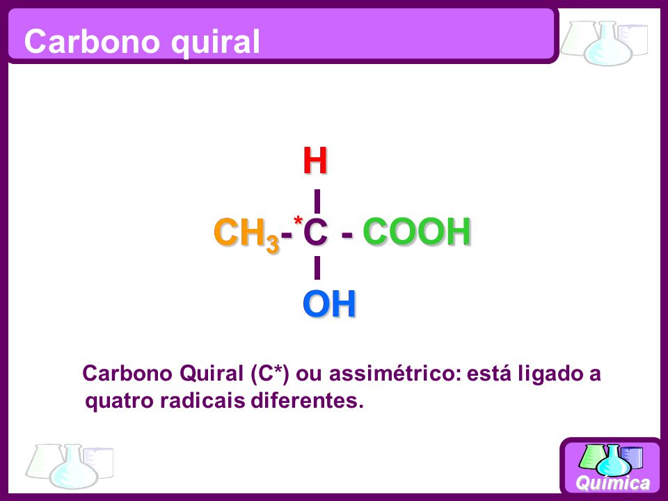 CH3- C - COOH OH H CH3 * OH H COOH Carbono quiral
