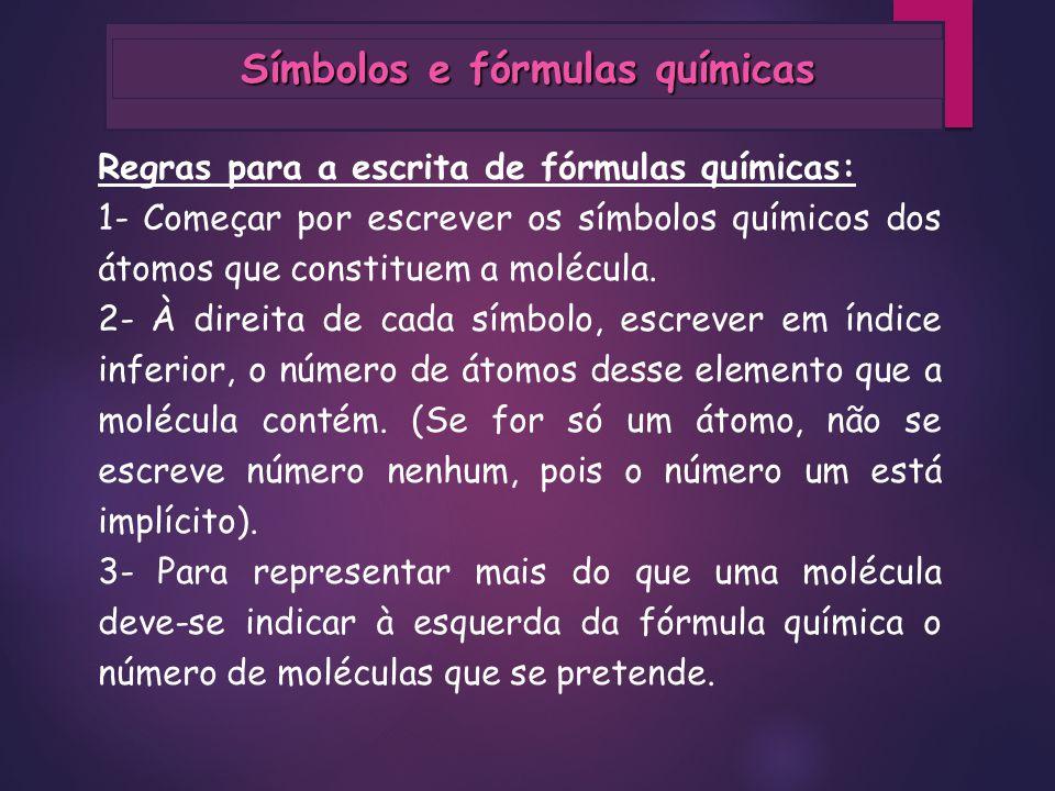 Símbolos e fórmulas químicas
