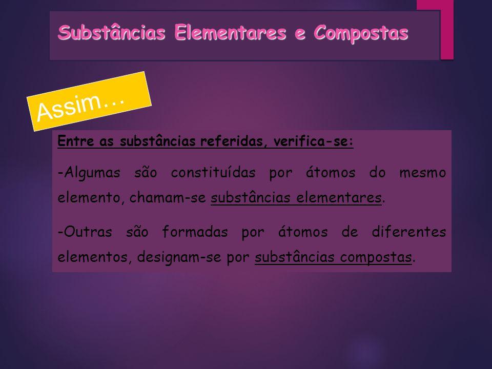 Assim… Substâncias Elementares e Compostas