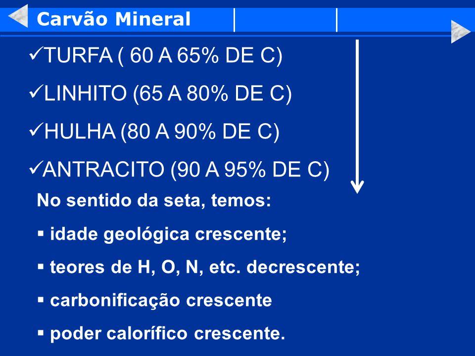 TURFA ( 60 A 65% DE C) LINHITO (65 A 80% DE C) HULHA (80 A 90% DE C)