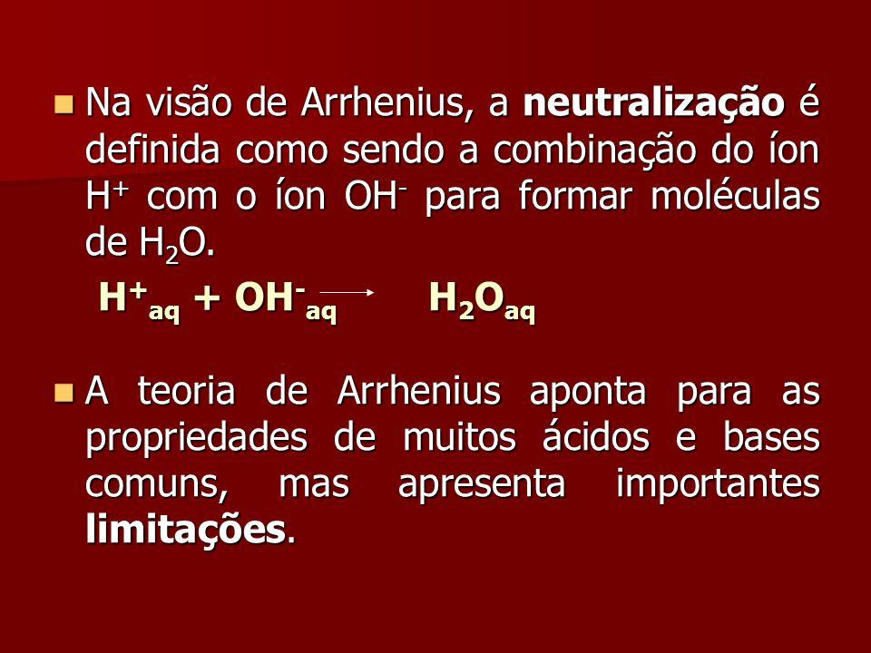 Na visão de Arrhenius, a neutralização é definida como sendo a combinação do íon H+ com o íon OH- para formar moléculas de H2O.
