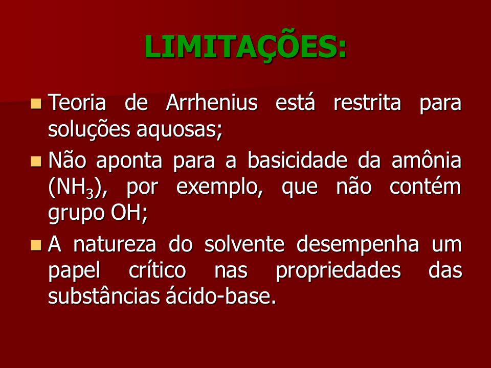 LIMITAÇÕES: Teoria de Arrhenius está restrita para soluções aquosas;