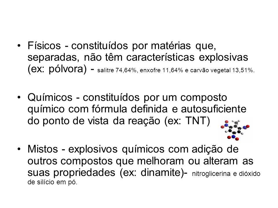 Físicos - constituídos por matérias que, separadas, não têm características explosivas (ex: pólvora) - salitre 74,64%, enxofre 11,64% e carvão vegetal 13,51%.