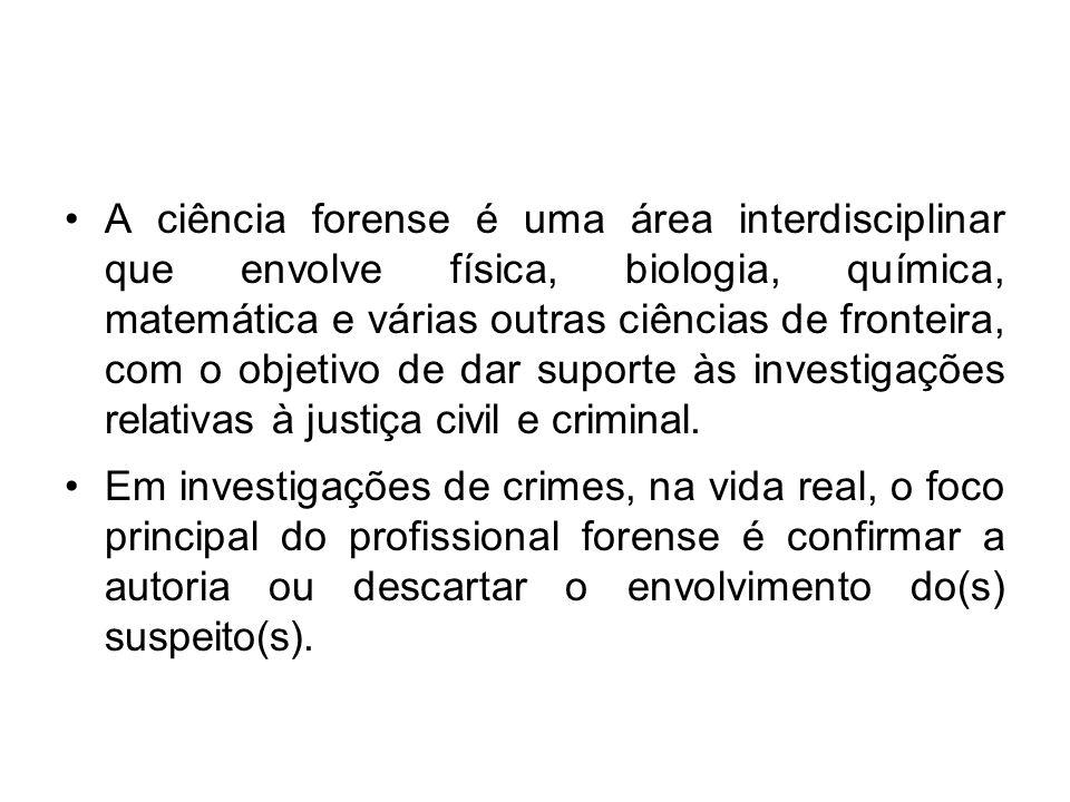A ciência forense é uma área interdisciplinar que envolve física, biologia, química, matemática e várias outras ciências de fronteira, com o objetivo de dar suporte às investigações relativas à justiça civil e criminal.