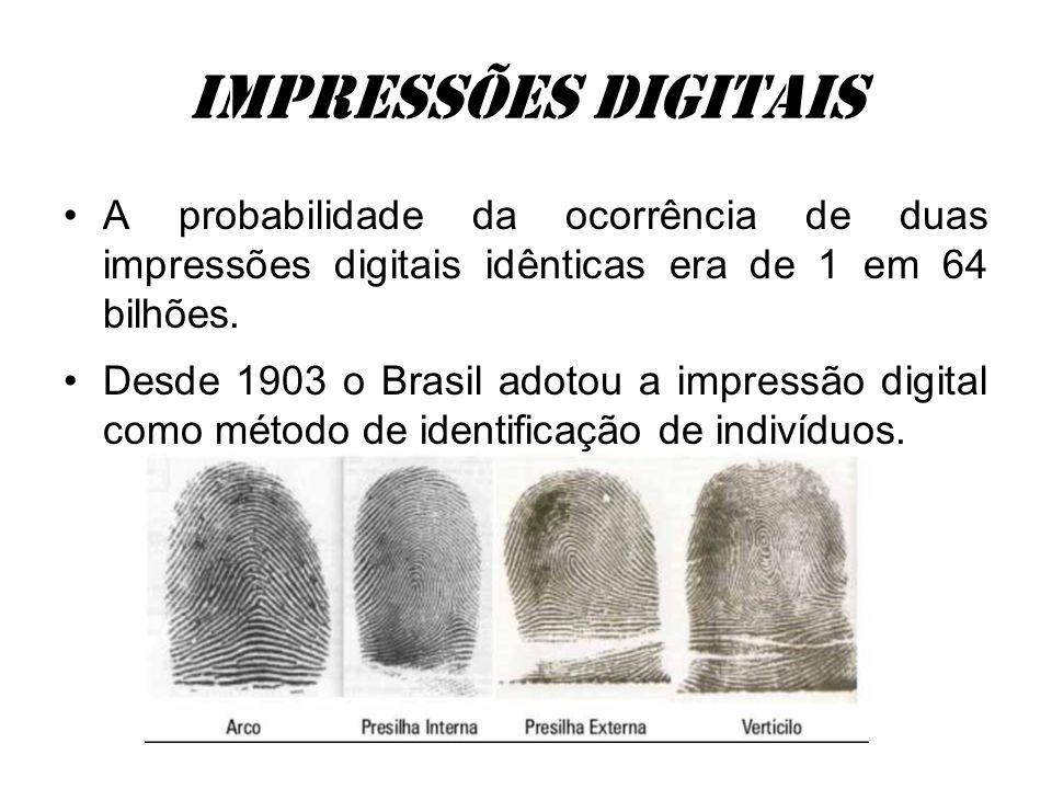 Impressões digitais A probabilidade da ocorrência de duas impressões digitais idênticas era de 1 em 64 bilhões.