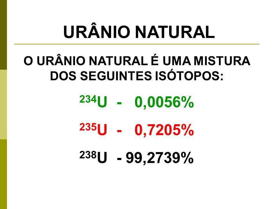 O URÂNIO NATURAL É UMA MISTURA DOS SEGUINTES ISÓTOPOS: