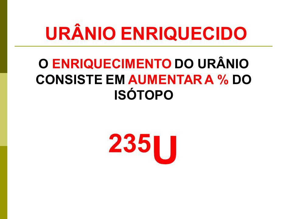 O ENRIQUECIMENTO DO URÂNIO CONSISTE EM AUMENTAR A % DO ISÓTOPO