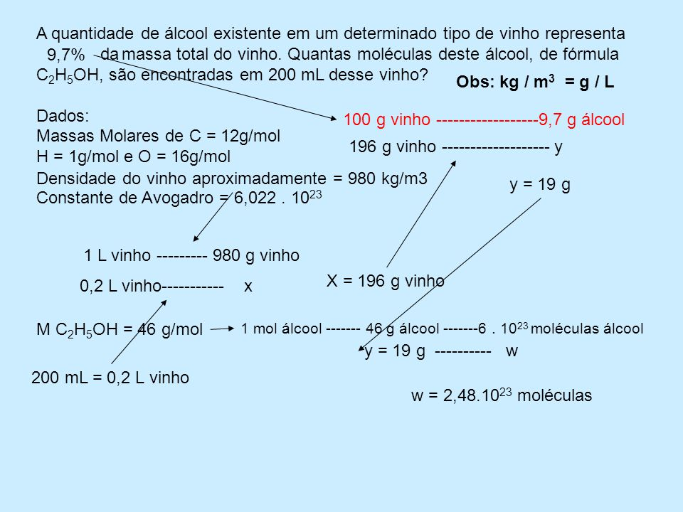 Massas Molares de C = 12g/mol H = 1g/mol e O = 16g/mol