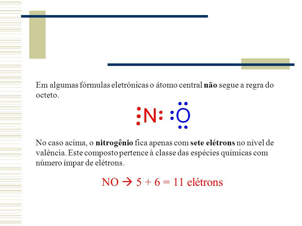 Em algumas fórmulas eletrônicas o átomo central não segue a regra do octeto.