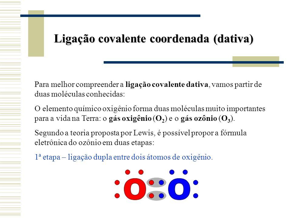 Ligação covalente coordenada (dativa)