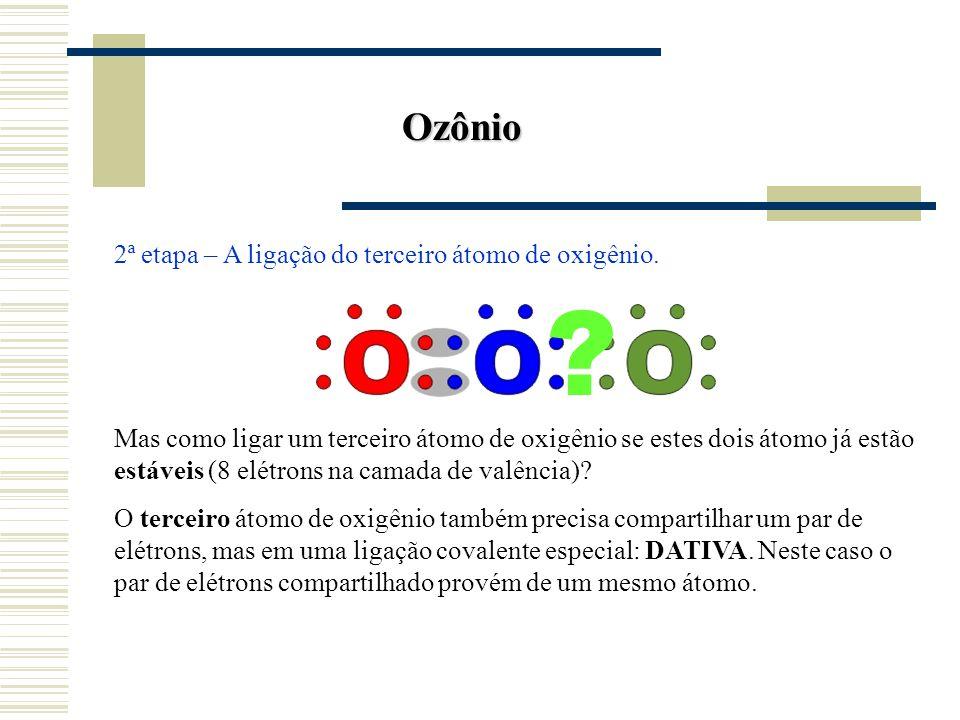 Ozônio 2ª etapa – A ligação do terceiro átomo de oxigênio.