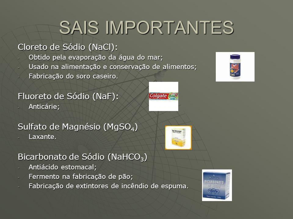 SAIS IMPORTANTES Cloreto de Sódio (NaCl): Fluoreto de Sódio (NaF):