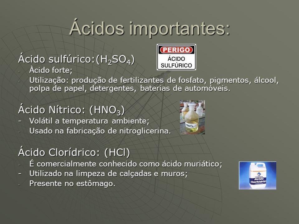 Ácidos importantes: Ácido sulfúrico:(H2SO4) Ácido Nítrico: (HNO3)
