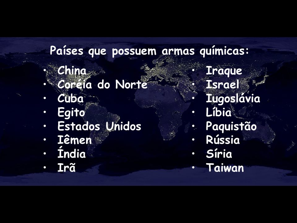 Países que possuem armas químicas: