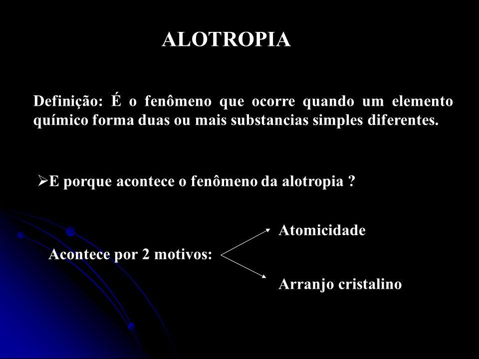 ALOTROPIA Definição: É o fenômeno que ocorre quando um elemento químico forma duas ou mais substancias simples diferentes.