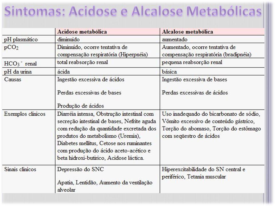 Sintomas: Acidose e Alcalose Metabólicas