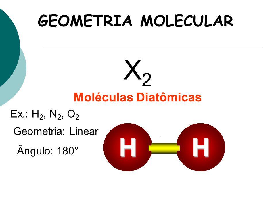 X2 H GEOMETRIA MOLECULAR Moléculas Diatômicas Ex.: H2, N2, O2