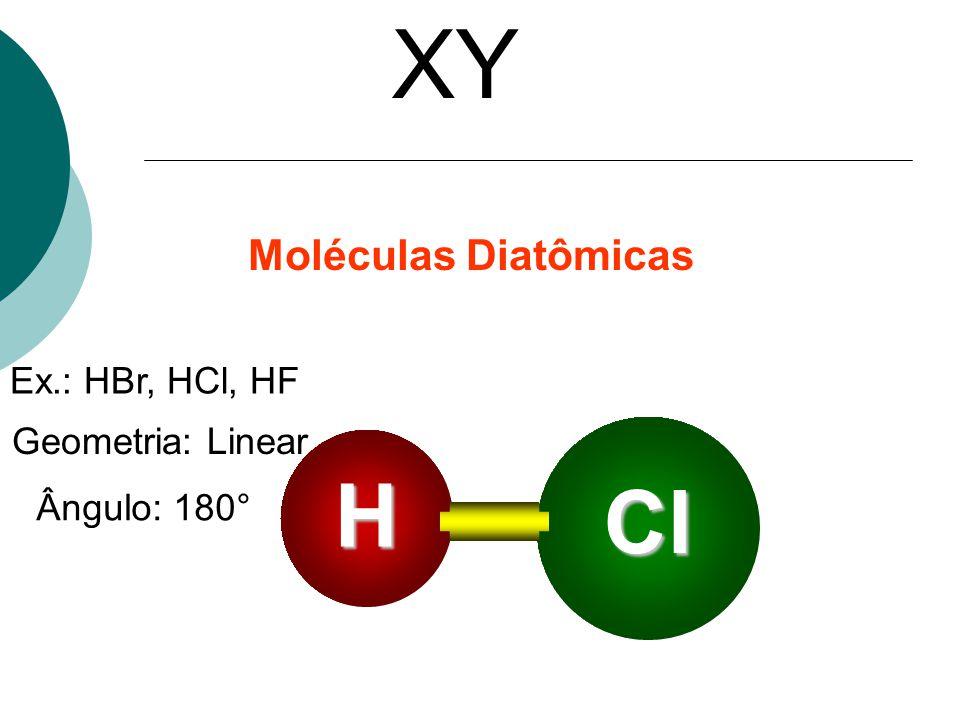 XY H Cl Moléculas Diatômicas Ex.: HBr, HCl, HF Geometria: Linear