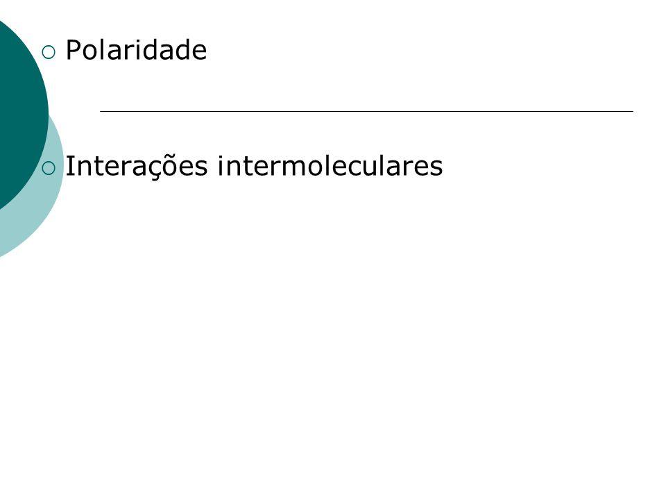 Polaridade Interações intermoleculares
