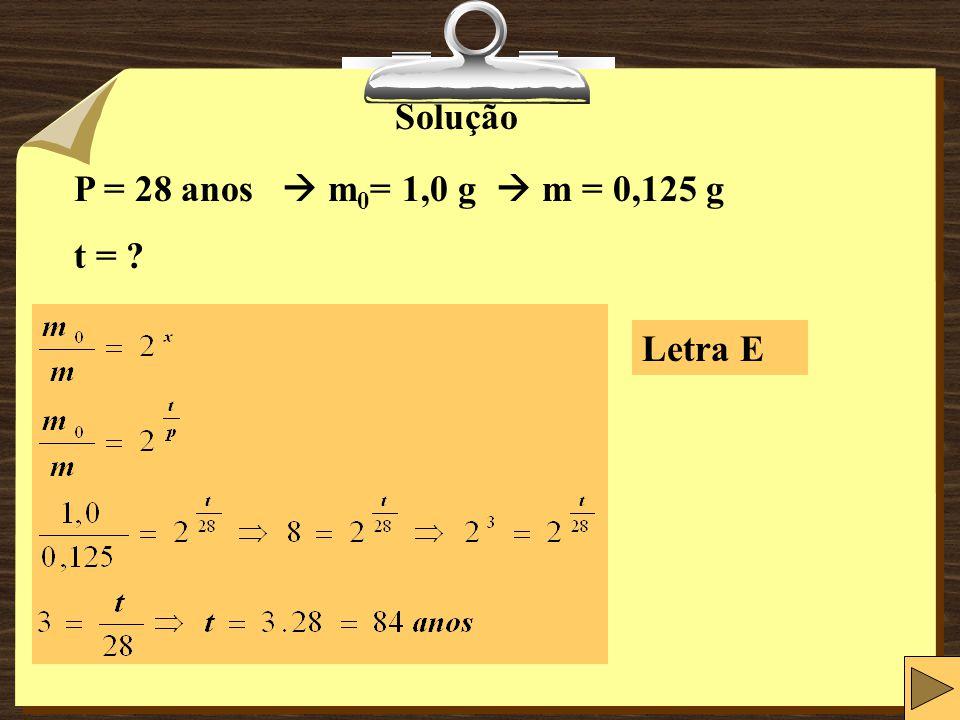 Solução P = 28 anos  m0= 1,0 g  m = 0,125 g t = Letra E