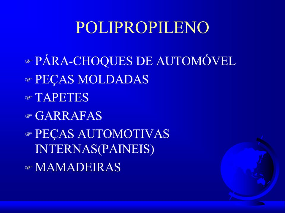 POLIPROPILENO PÁRA-CHOQUES DE AUTOMÓVEL PEÇAS MOLDADAS TAPETES