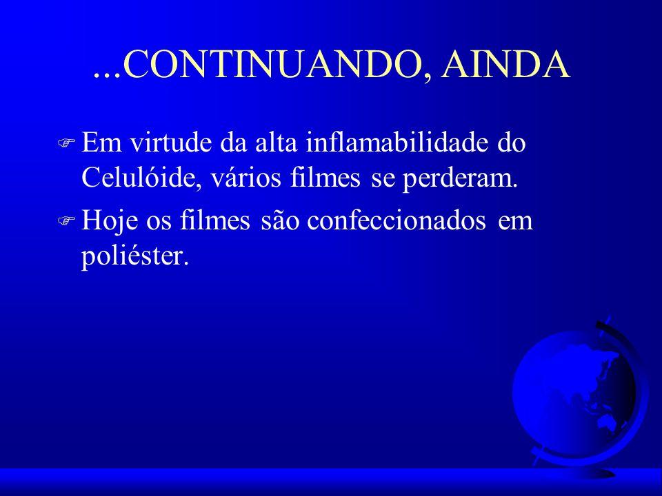...CONTINUANDO, AINDA Em virtude da alta inflamabilidade do Celulóide, vários filmes se perderam.