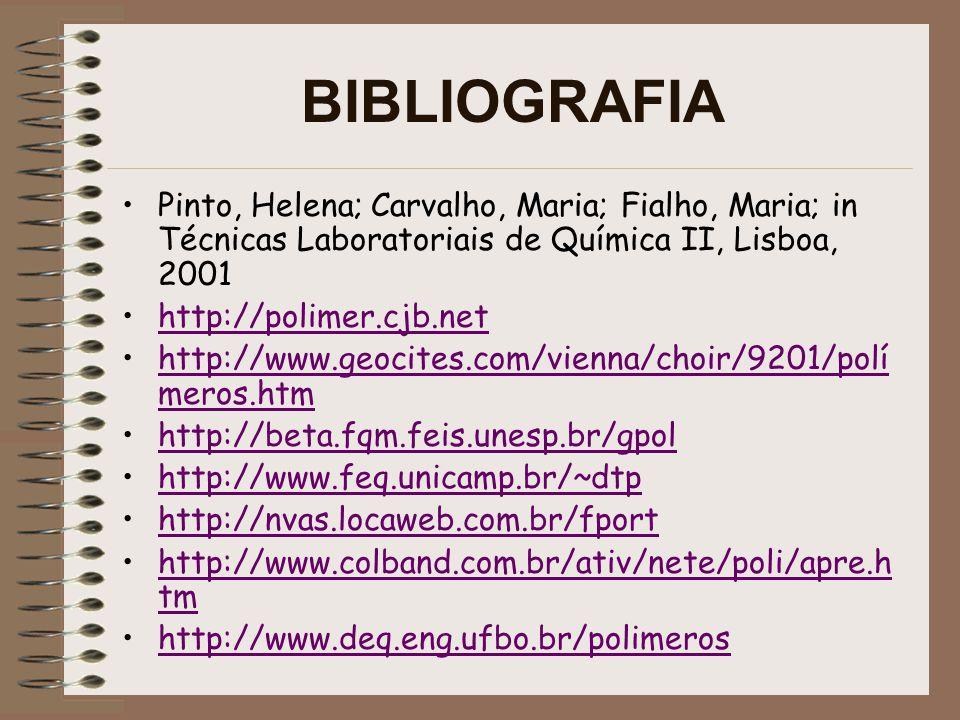 BIBLIOGRAFIA Pinto, Helena; Carvalho, Maria; Fialho, Maria; in Técnicas Laboratoriais de Química II, Lisboa, 2001.