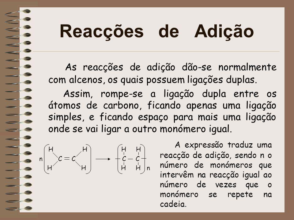 Reacções de Adição As reacções de adição dão-se normalmente com alcenos, os quais possuem ligações duplas.