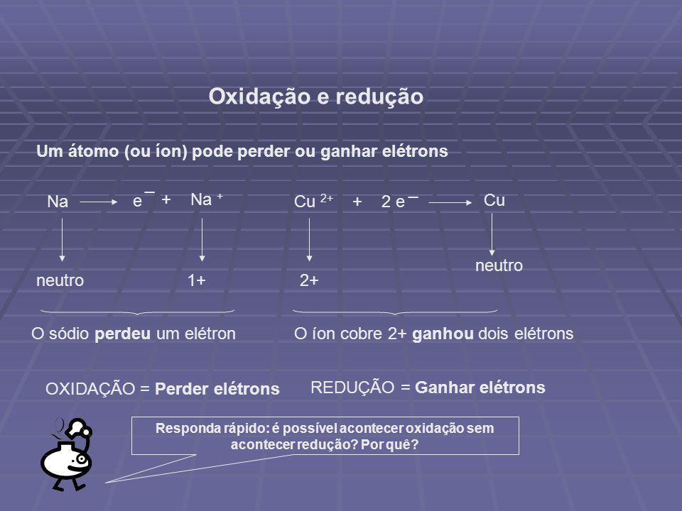 Oxidação e redução Um átomo (ou íon) pode perder ou ganhar elétrons e