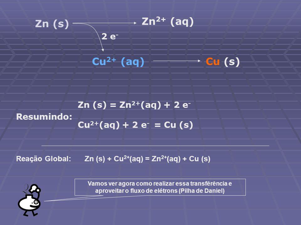 Zn2+ (aq) Zn (s) Cu2+ (aq) Cu (s) 2 e- Zn (s) = Zn2+(aq) + 2 e-