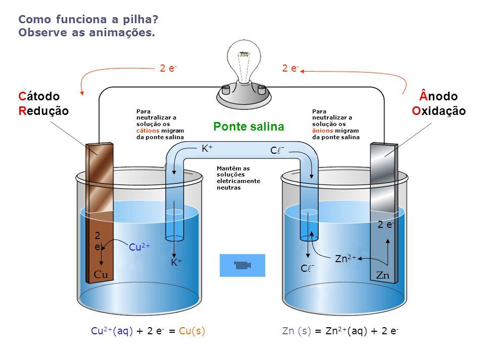 Cátodo Redução Ânodo Oxidação Ponte salina