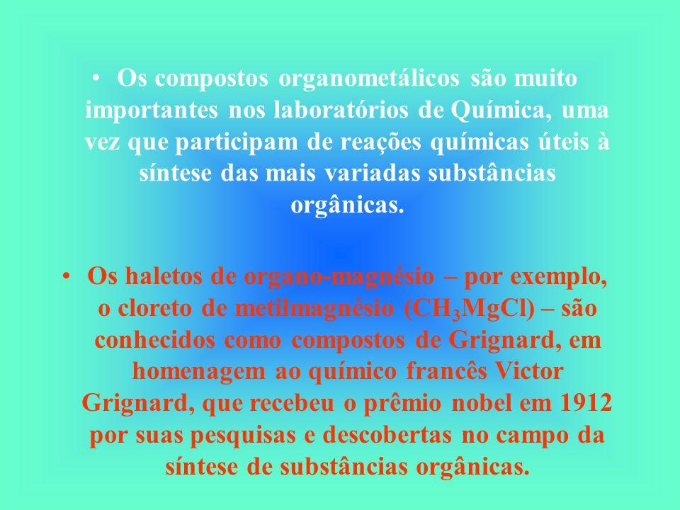 Os compostos organometálicos são muito importantes nos laboratórios de Química, uma vez que participam de reações químicas úteis à síntese das mais variadas substâncias orgânicas.