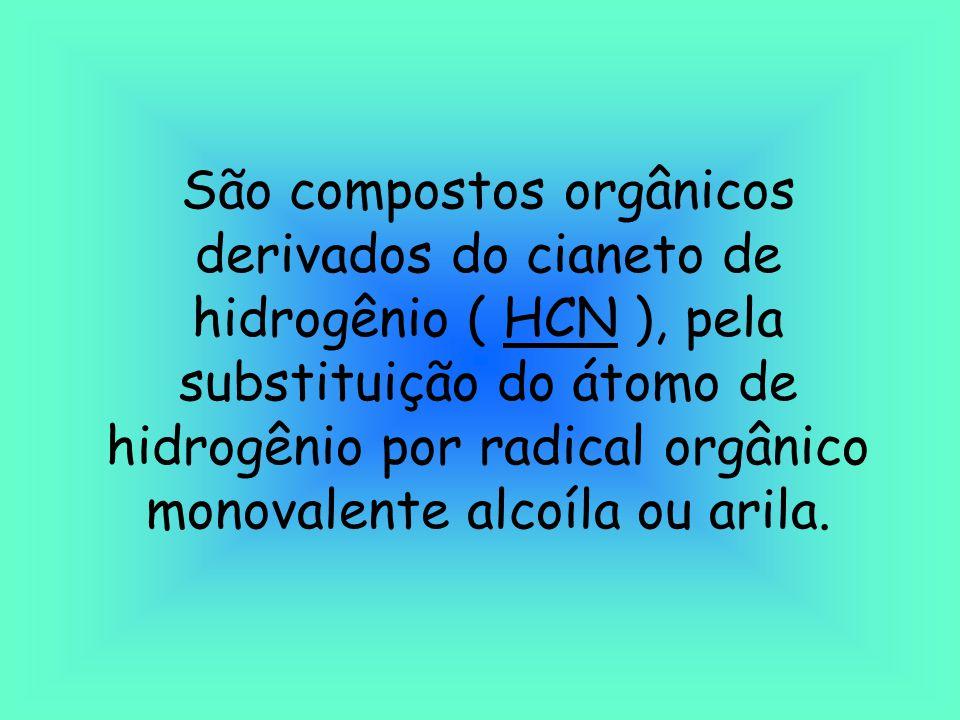 São compostos orgânicos derivados do cianeto de hidrogênio ( HCN ), pela substituição do átomo de hidrogênio por radical orgânico monovalente alcoíla ou arila.