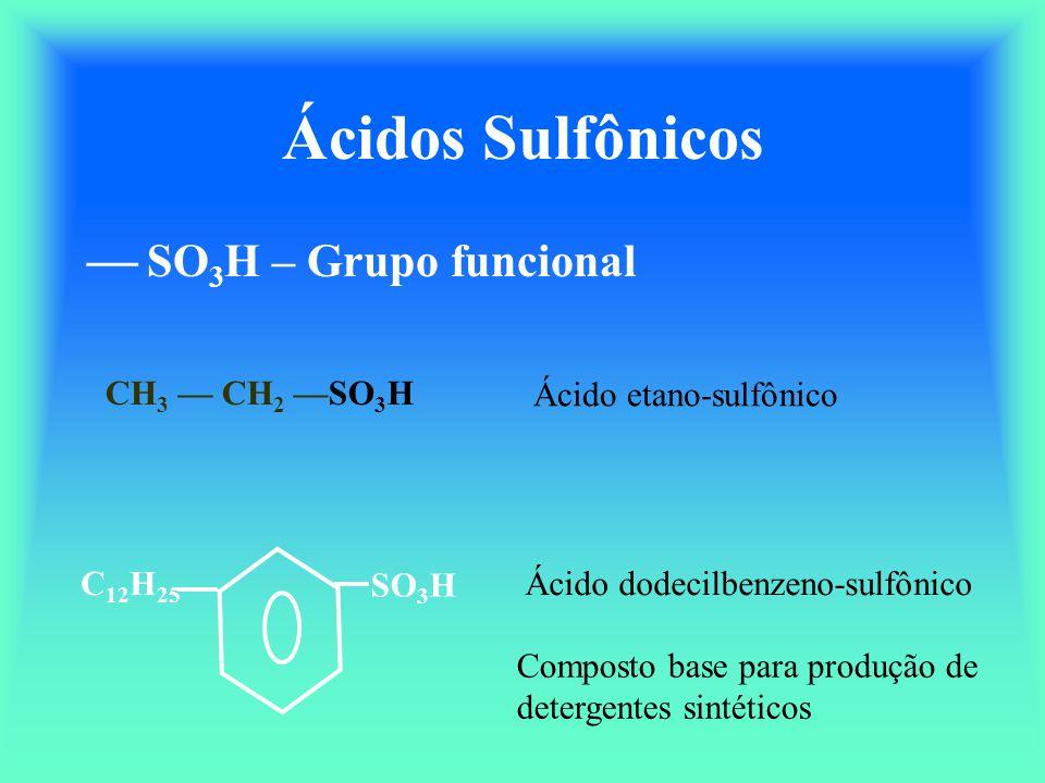 Ácidos Sulfônicos  SO3H – Grupo funcional CH3 — CH2 —SO3H